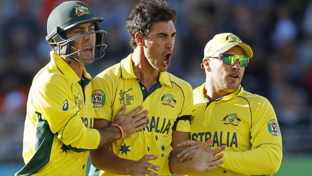 Australia bowler Mitchell Starc celebrates a wicket. Photo: Reuters
