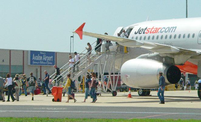 Jetstar passengers disembark at Avalon Airport