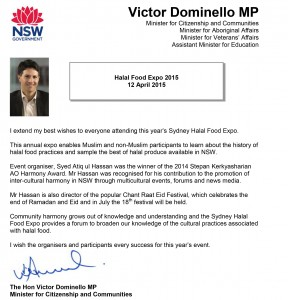 Message from Minister Victor Domenillo  on Halal Food Expo