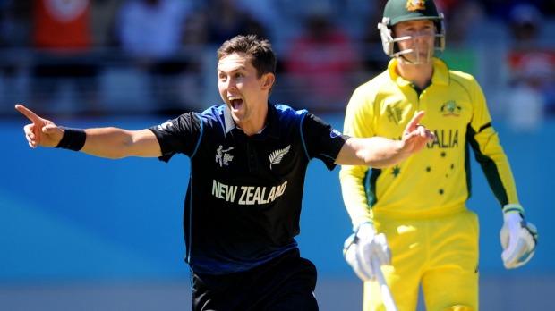 New Zealand's Trent Boult celebrates taking the wicket of Australia's Mitchell Marsh