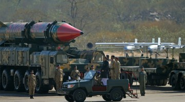 President Mamnoon Hussain inspects a guard of honour alongside long-range ballistic missiles the Shaheen II during the Pakistan Day military parade in Islamabad on March 23, 2015. PHOTO: AFP