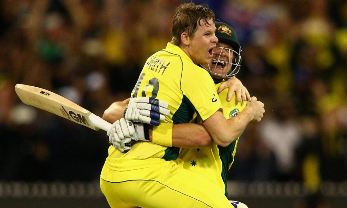 Steve Smith of Australia and Shane Watson celebrate after the former hit the winning runs. Photograph: Cameron Spencer/Getty Images