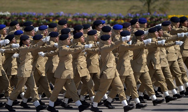 Troops march during the Pakistan Day military parade in Islamabad on March 23, 2015. PHOTO: AFP