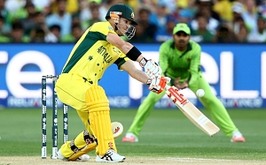 David Warner kickstarts Australia's reply. Photo: Getty Images