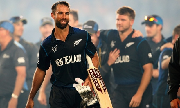 A happy and relieved looking Grant Elliott pictured as the New Zealand celebrate their four-wicket victory. Photo: Phil Walter/Getty Images