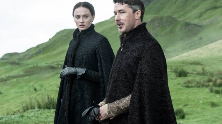 Sophie Turner as Sansa Stark and Aidan Gillen as Littlefinger. Photo: Helen Sloan/HBO