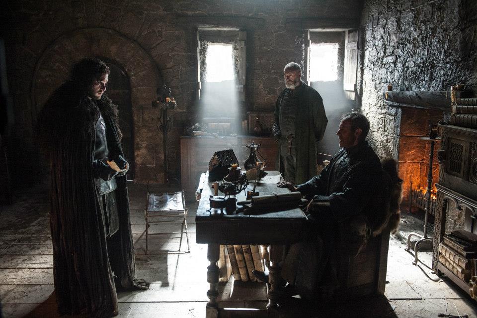 Kit Harington as Jon Snow, Stephen Dillane as Stannis Baratheon and Liam Cunningham as Davos Seaworth. Photo: Helen Sloan/HBO