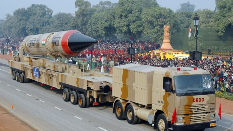 'AGNI-III' missile, passes through the Rajpath during the 59th Republic Day Parade.