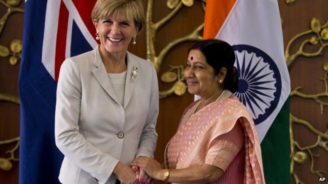 Julie Bishop, left, has been on an official three-day visit to India.