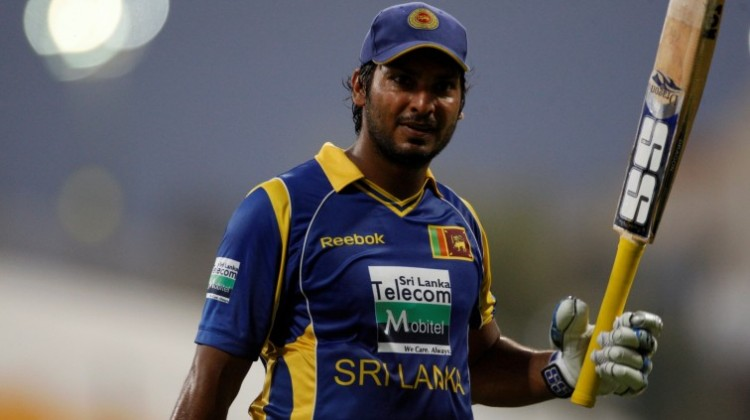Sri Lanka's Sangakkara reacts after being dismissed during the fifth and final one-day international cricket match against Pakistan in Abu Dhabi