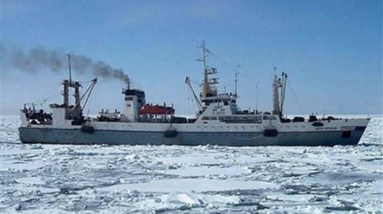 This photo provided by Russian Emergency Situations Ministry shows a Russian trawler, the same type as Dalny Vostok. The Russian freezer trawler Dalny Vostok with an international crew of 132 sank Thursday morning, April 2, 2015, in the Sea of Okhotsk off of the Kamchatka Peninsula.