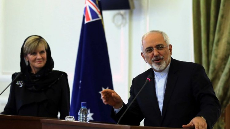Australian Foreign Minister Julie Bishop and her Iranian counterpart Mohammad Javad Zarif have held talks in Tehran. Photo: AFP/Atta Kenare