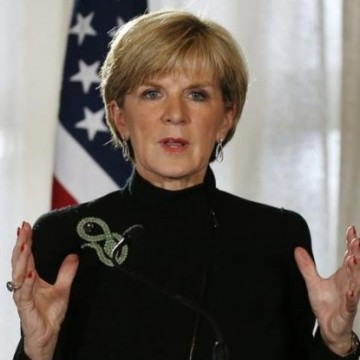 Australian Foreign Minister Julie Bishop speaks during a joint news conference at the conclusion of the AUSMIN meeting at Admiralty.