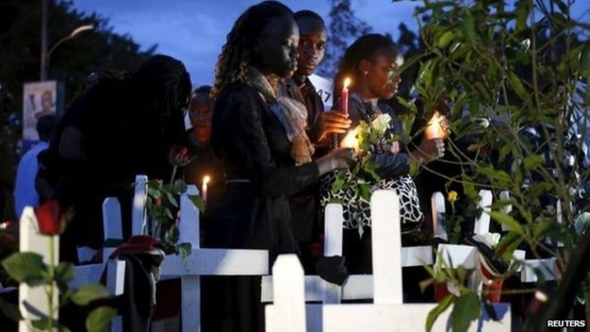 Kenyans hold candle-lit vigil in Kenya's capital, Nairobi, to remember the victims of last week's attack at Garissa University College by al-Shabab gunmen.