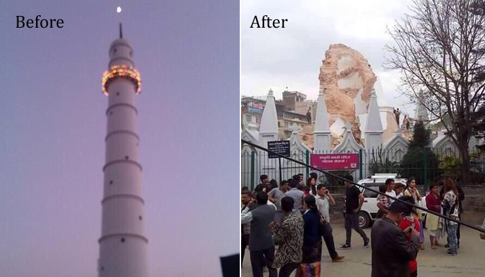 Nepal's iconic Dharara Tower before and after the earthquake