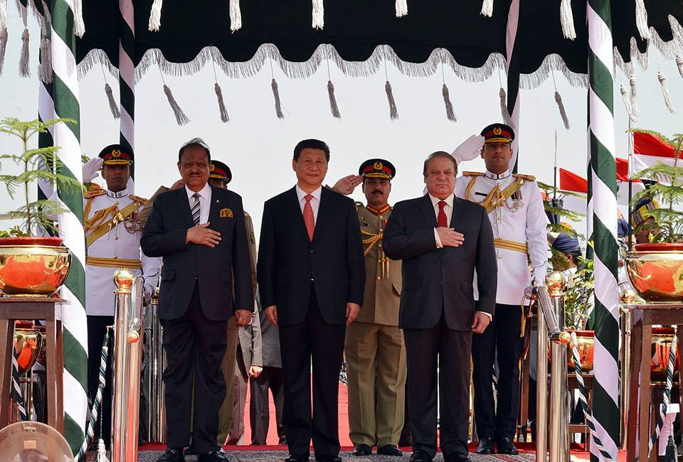 Chinese president was received by Pakistan's President Mamnoon Hussain, Prime Minister Nawaz Sharif, and other members of cabinet.