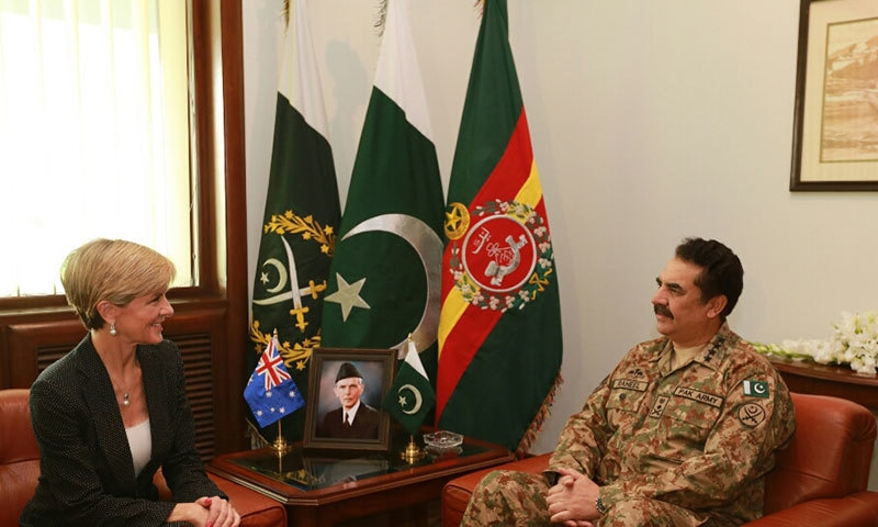 Australian Minister for Foreign Affairs Julie Bishop meets COAS General Raheel Shareef.