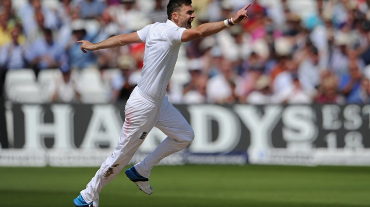 Jimmy Anderson, here against India in 2014, became the first England bowler to reach 400 Test wickets when he struck early against New Zealand. Photograph: Visionhaus/Corbis