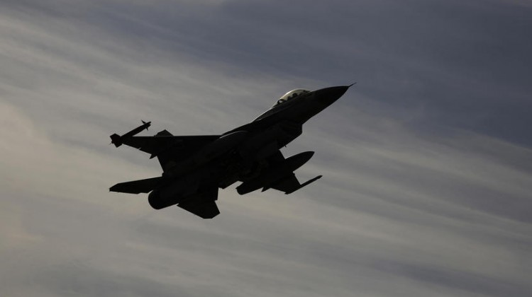 Israeli F-16 fighter jet flies over Ovda airbase during the Blue Flag drill