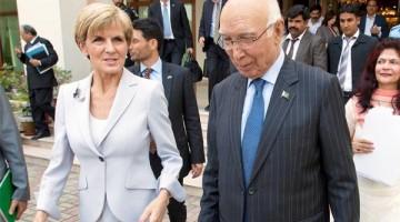 Australian FM Julie Bishop held talks with her Pakistani counterpart Sartaj Aziz in Islamabad during her 2-day visit to Pakistan.