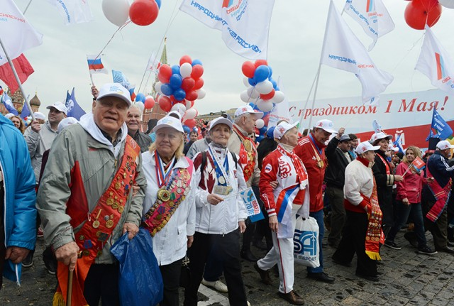 People march in Moscow to mark Labour Day. Photo: RIA Novosti / Evgeny Biyatov