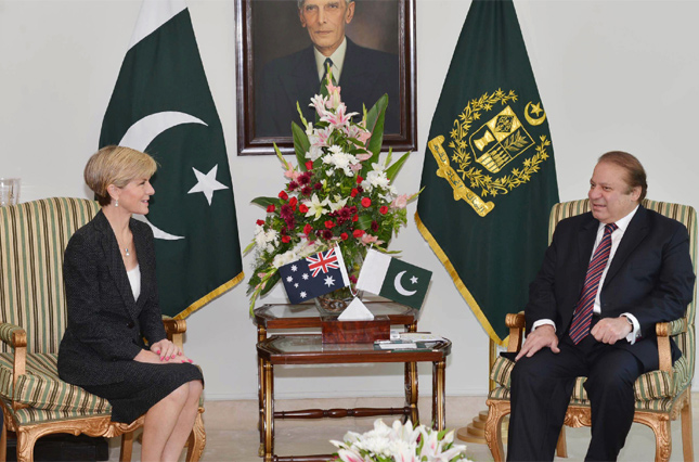 Pakistan's Prime Minister Nawaz Sharif meets with Australian Minister for Foreign Affairs Julie Bishop at the Prime Minister House in Islamabad. Photo: AFP