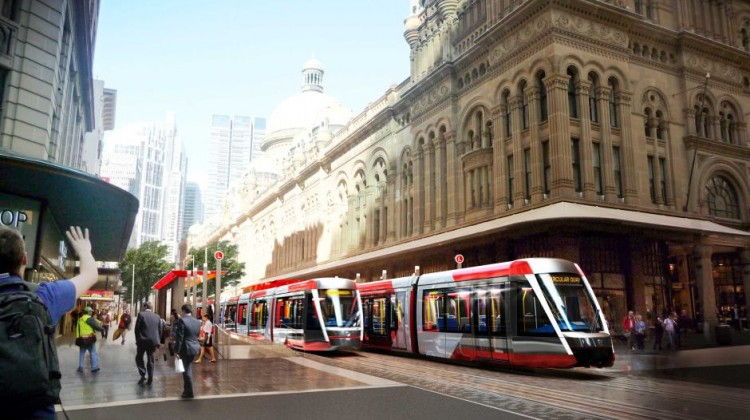 An artist's impression of the planned Sydney light rail near the QV building in the CBD. Supplied: NSW Government