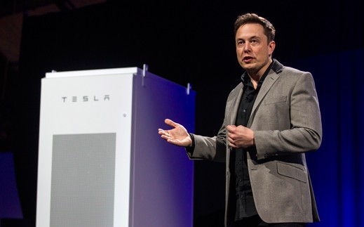 Tesla CEO Elon Musk unveiled the Powerwall battery at the company's design studio in Hawthorne, California, on Thursday.