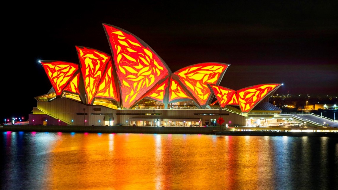 Living mural, Sydney, Vivid Sydney Festival 2015. Opera House. Photo: James Horan/Destination NSW