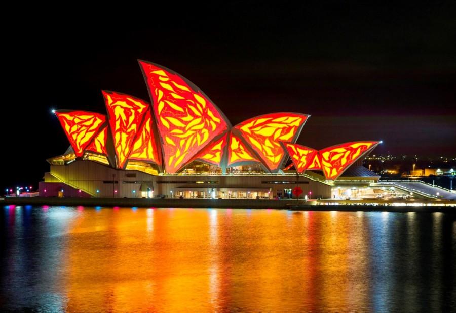 Living mural, Sydney, Vivid Sydney Festival 2015. Opera House. Photo: James Horan/Destination NSW