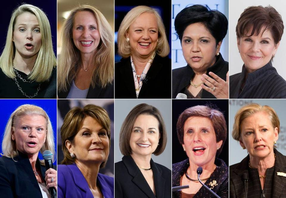 Top row, from left: Marissa Mayer, Yahoo; Carol Meyrowitz, TJX Cos.; Meg Whitman, Hewlett-Packard; Indra K. Nooyi, Pepsico; and Phebe Novakovic, General Dynamics. Bottom row, from left: Virginia Rometty, IBM; Marilyn Hewson, Lockheed Martin; Patricia Woertz, Archer Daniels Midland; Irene Rosenfeld, Mondelez International; and Ellen Kullman, DuPont. - AP