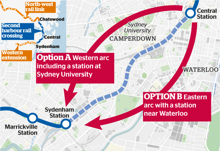 Two options for the second harbour rail crossing, with stations at either Sydney University or Waterloo.