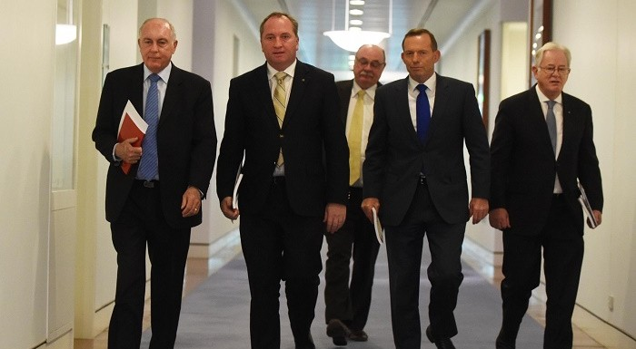 The prime minister, Tony Abbott (second from right), and relevant ministers arrive at press conference on release of the Northern Australia white paper. Photograph: Mick Tsikas/AAP