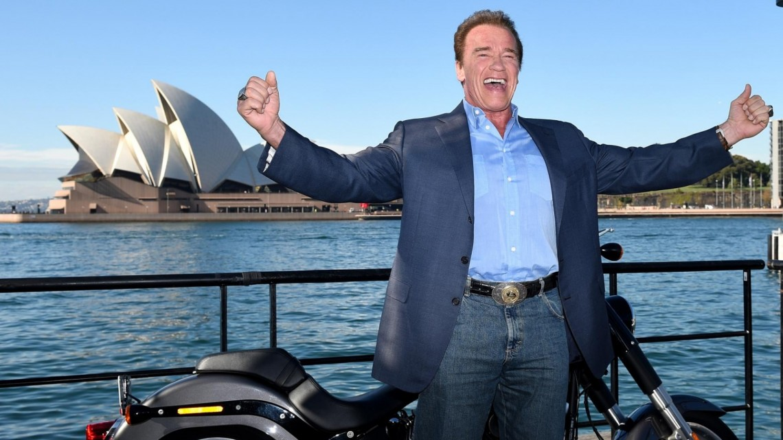 Arnold Schwarzenegger in Sydney on Thursday to promote the film Terminator Genisys. Photograph: Dan Himbrechts/AAP