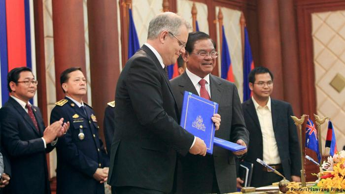 Australia's then Immigration Minister Scott Morrison and Cambodian Interior Minister Sar Kheng signed a deal last year for Cambodia to take in the refugees