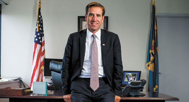 Delaware Attorney General Beau Biden is photographed in his office
