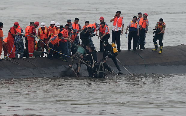 A passenger ship carrying 458 people, has sunk in the Yangtze river in China