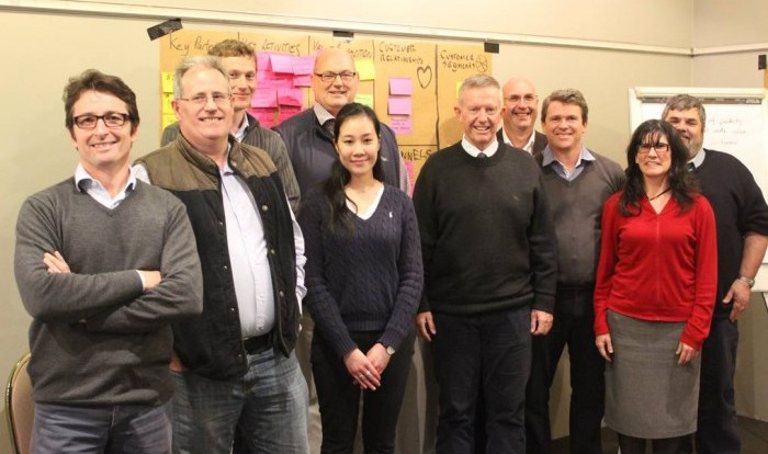 Cameron Crowley (left) and Parkes MP Mark Coulton (sixth from left) take part in a strategic planning workshop following the receipt of a dollar-for-dollar grant of almost $1 million by Maverick Biomaterials Pty Ltd. Photo: Contributed
