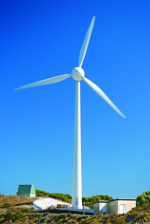 The wind turbine on Rottnest Island. Photo: Rottnest Island Authority
