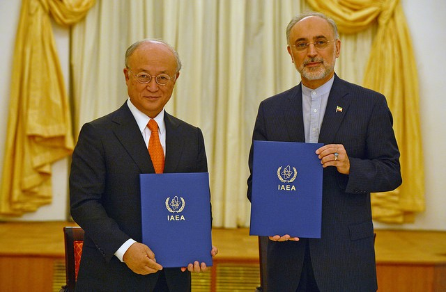IAEA Director General Yukiya Amano and Vice President of the Islamic Republic of Iran Ali Akhbar Salehi at the signing of a roadmap for the clarification of past and present issues regarding Iran's nuclear program in Vienna. Coburg Palace, Vienna, Austria, 14 July 2015.