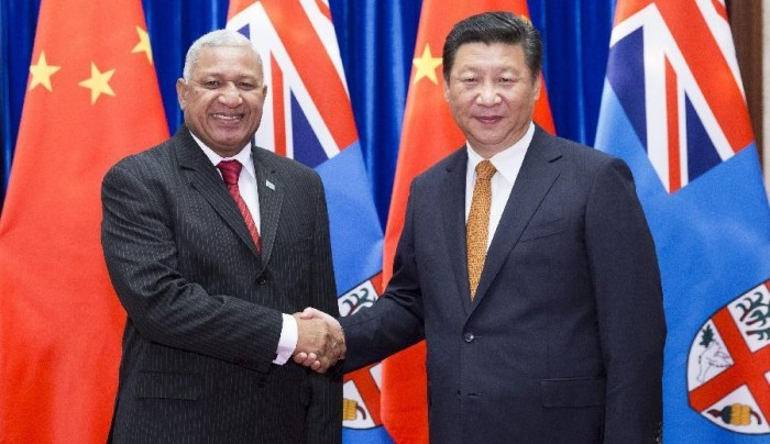 hinese President Xi Jinping (R) meets with Fijian Prime Minister Voreqe Bainimarama in Beijing, capital of China, July 15, 2015. (Xinhua/Huang Jingwen)