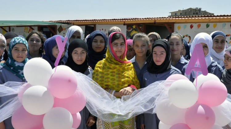 "Malala Yousafzai celebrated her birthday and the opening of a new school with ""brave and inspiring girls of Syria"" in Lebanon on Sunday. Photo: WAEL HAMZEH/EPA /LANDOV"