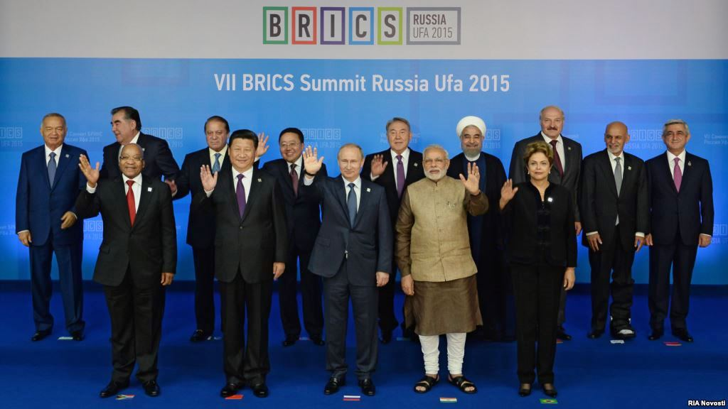 Chinese President Xi Jinping poses for photos with leaders of the Shanghai Cooperation Organization (SCO) members and observers, the Eurasian Economic Union (EEU) leaders, leaders of invited countries and the BRICS nations, namely Brazil, Russia, India, China and South Africa in Ufa, Russia, July 9, 2015