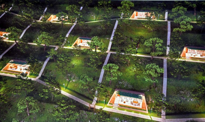 Aerial view of Hobbit Homes to be build in eastern Turkey