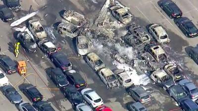 Birds-eye view of the plane crash as seen by Sky News cameras