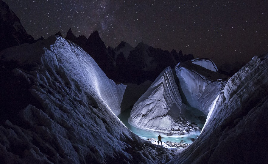 LED light to 'paint' the snow at Karakoram. PHOTO: DAVID KASZLIKOWSKI