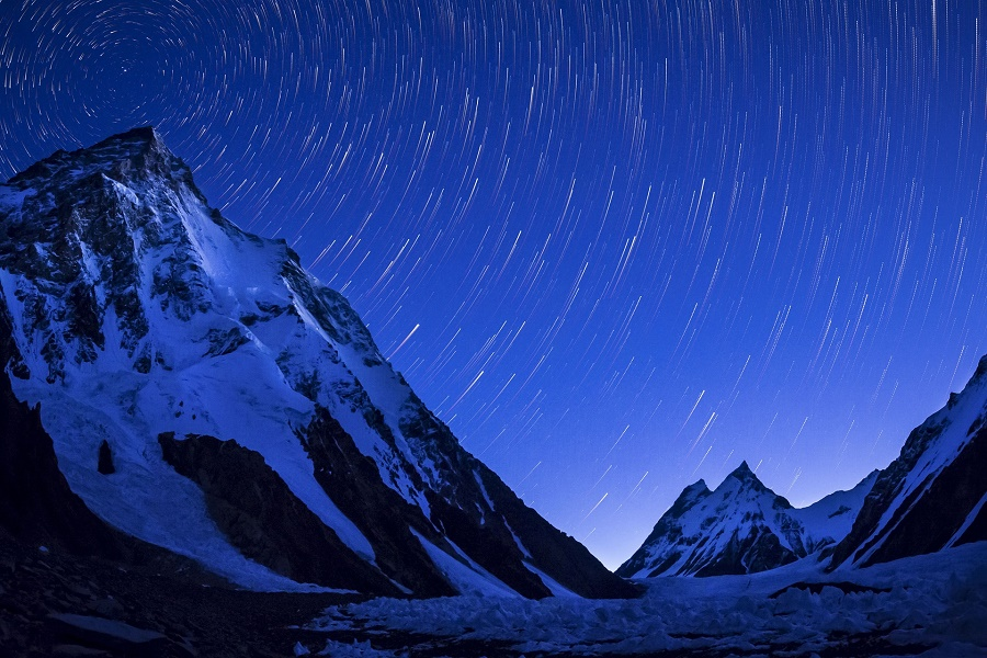 K2 mountain captured on a clear night just before sunrise. PHOTO: DAVID KASZLIKOWSKI
