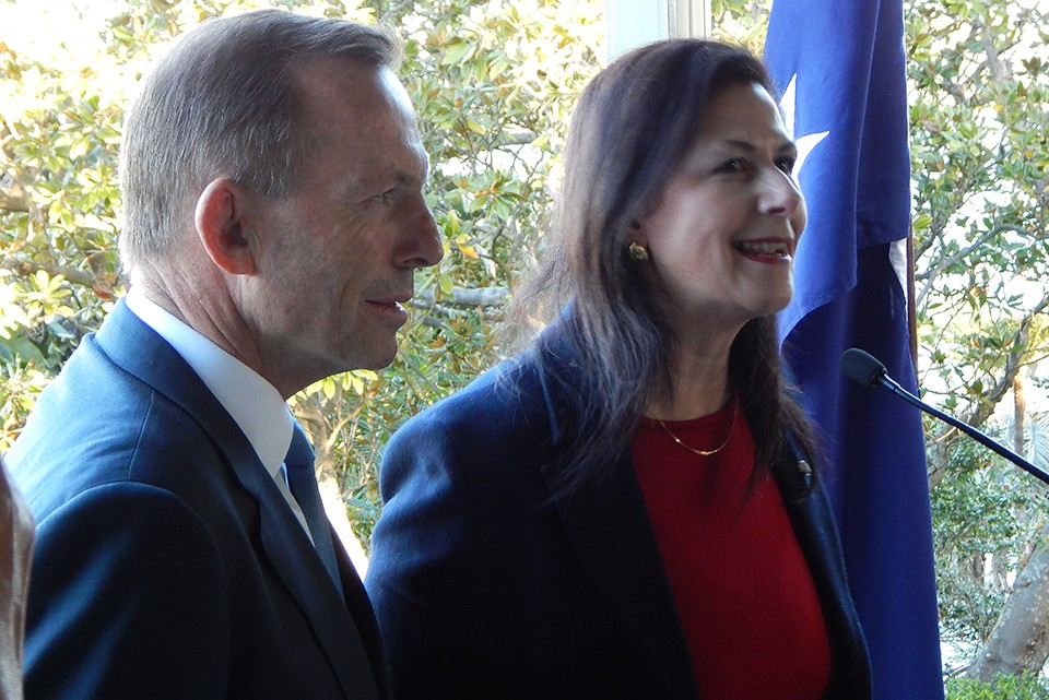 PM Tony Abbott & Senator Concetta Fierravanti-Wells at PM House (Photo by Sabeh of Tribune)