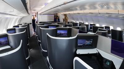 Virgin Australia's new business class cabin on A330-200 VH-XFH. (Seth Jaworski)