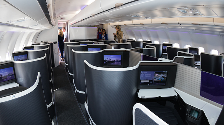 Virgin Australia's new business class cabin on A330-200 VH-XFH. (Seth Jaworski)
